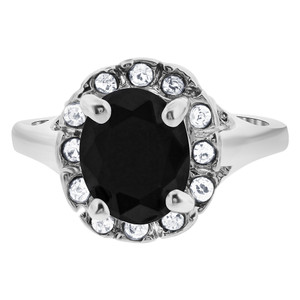 Silver Plated Oval Faceted Black CZ Solitaire with Accents Ring