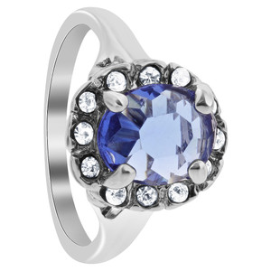 Silver Plated Blue Sapphire CZ Solitaire with Accents Ring
