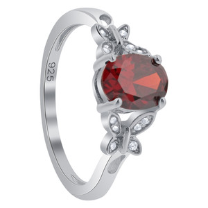 Sterling Silver Red Oval Simulated Garnet Cubic Zirconia Butterfly Shoulders Ring