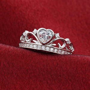 925 Silver CZ Heart Cubic Zirconia Crown Claddagh Ring
