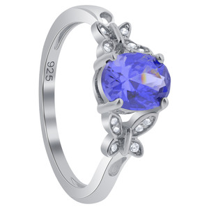 925 Silver Blue Oval Simulated Tanzanite CZ Butterfly Shoulders Ring