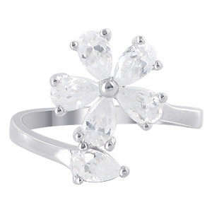 925 Silver Pear Shape Cubic Zirconia 2mm Flower Ring