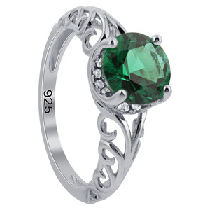 925 Silver Green 8mm Round Emerald CZ wirl Design Ring