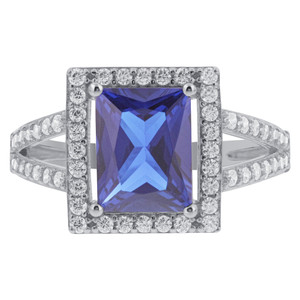 Sterling Silver Blue Rectangle CZ Halo Ring