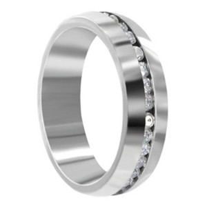 Stainless Steel Clear CZ Channel Setting Band