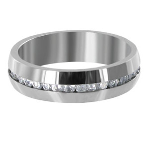 Stainless Steel Clear Cubic Zirconia Channel Setting 6mm Band