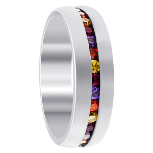 Stainless Steel Multicolor CZ Channel Setting 6mm Band