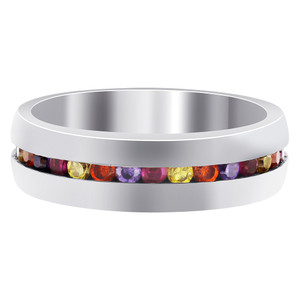 Stainless Steel Multicolor Cubic Zirconia Channel Setting 6mm Band