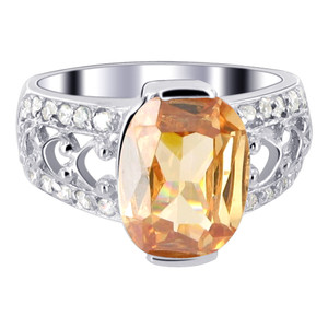925 Silver Oval Champagne Color CZ Solitaire Ring