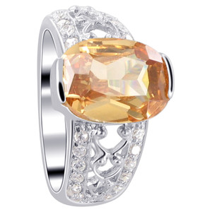 Sterling Silver Oval Champagne Color Cubic Zirconia Solitaire Ring