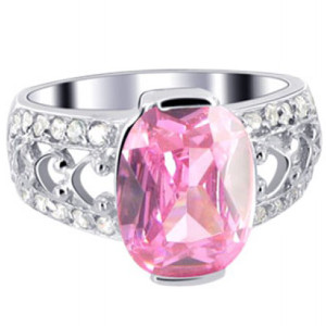 Sterling Silver Pink ice Cubic Zirconia Solitaire Ring