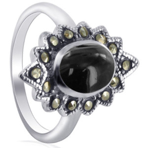 925 Silver Simulated Black Onyx and Marcasite Oval Ring