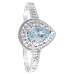 Sterling Silver Pear Shape Blue Topaz Gemstone Solitaire Accents Ring