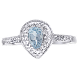 925 Silver Pear Shape Blue Topaz Gemstone Solitaire Accents Ring