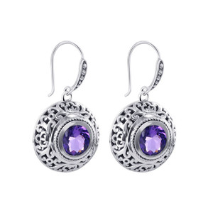 925 Silver February Amethyst Birthstone Drop Earrings