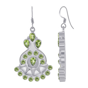 Sterling Silver Peridot Gemstones Drop Earrings