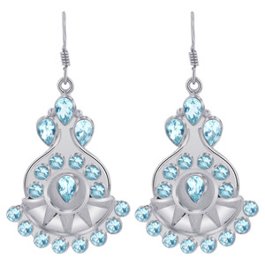 Blue Topaz Gemstones Bali Design Drop Earrings