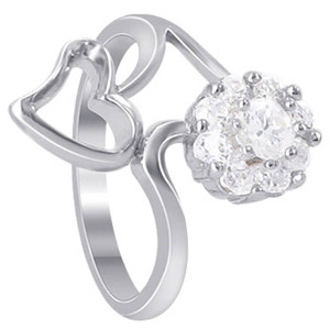 925 Sterling Silver Open Heart Flower Cubic Zirconia Ring