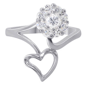 Sterling Silver Open Heart Flower Cubic Zirconia Ring