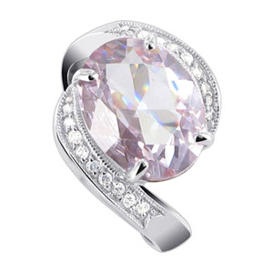 Oval Lavender CZ with Accents Sterling Silver Ring