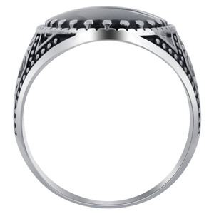Men's Sterling Silver Oval Black Onyx Solitaire Ring