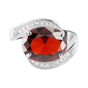 Oval CZ with Accents 925 Silver Ring