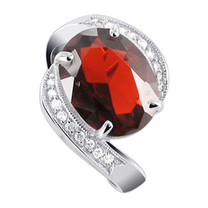 Oval Garnet Color CZ with Accents Cubic Zirconia Sterling Silver Ring