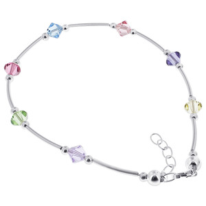 Made with Swarovski Elements 925 Silver Anklet Ankle Bracelet