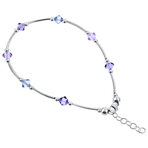 Made with Swarovski Elements Crystal 925 Silver Anklet Ankle Bracelet 9 to 10""