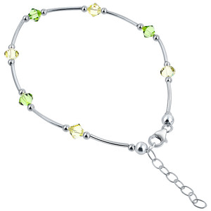 Made with Swarovski Elements Crystal 9 - 10 inch 925 Silver Ankle Bracelet