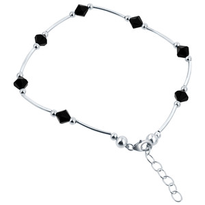 Made with Swarovski Elements Crystal Black 925 Silver Ankle Bracelet 9 to 10""