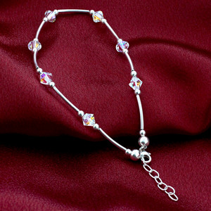 Made with Swarovski Elements Crystal Clear 925 Silver Ankle Bracelet 9 to 10""