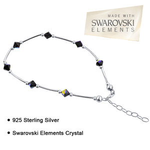 "Made with Swarovski Elements Vitrail Crystal 925 Silver 9"" to 10"" Ankle Bracelet"