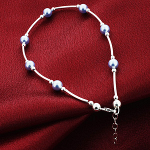 "Made with Swarovski Elements Blue Pearl 925 silver Anklet 10"" Ankle Bracelet"