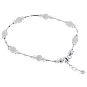 "White Cats Eye Swarovski Elements Crystal 9 to 10.5"" Adjustable 925 Silver Anklet Ankle Bracelets"