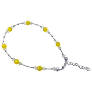 Yellow Cats Eye Swarovski Elements Crystal Adjustable Sterling Silver Anklet Ankle Bracelets