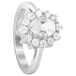 925 Sterling Silver Oval Cubic Zirconia Prong Set Solitaire with accents Ring