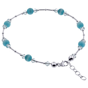 Blue Cats Eye Swarovski Elements Crystal Adjustable Sterling Silver Anklet Ankle Bracelets