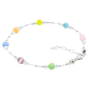 Multicolor Cats Eye and Swarovski Elements Clear AB Crystal Adjustable Sterling Silver Anklet Ankle Bracelets