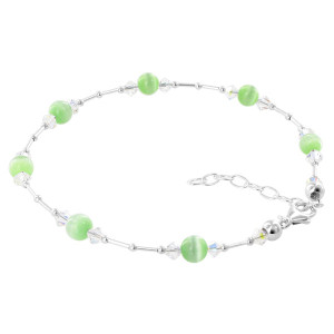 Green Cats Eye Swarovski Elements Crystal Adjustable Sterling Silver Anklet Ankle Bracelets (