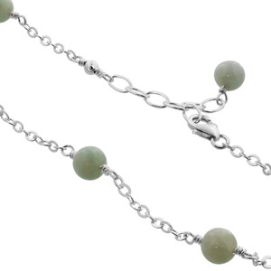 Green Simulated Jade Sterling Silver Anklet Ankle Bracelets