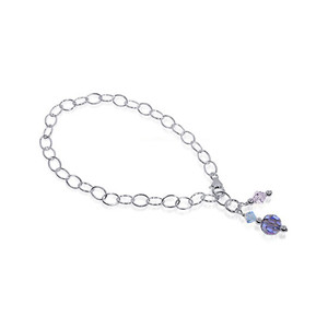 Round Blue Swarovski Elements Crystal Sterling Silver Foot Oval Chain Anklet Ankle Bracelets