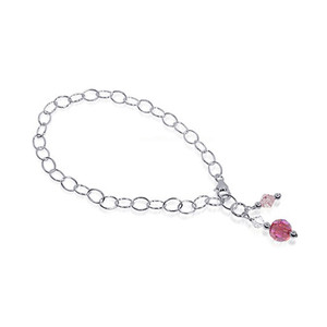 Round Pink Swarovski Elements Crystal Sterling Silver Oval Foot Chain Anklet Ankle Bracelets