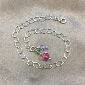 Round Multicolor Swarovski Elements Crystal Sterling Silver Oval Foot Chain Anklet Ankle Bracelets
