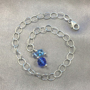 Made with Swarovski Elements Blue Crystal 925 Silver Anklet Ankle Bracelet
