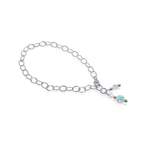 Round Clear Swarovski Elements Crystal Sterling Silver Foot Oval Chain Anklet Ankle Bracelets
