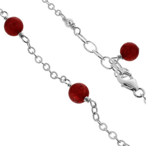 Red Simulated Agate Sterling Silver Adjustable Anklet Ankle Bracelets
