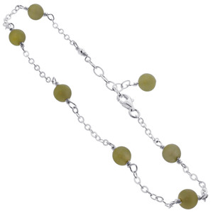 Green Simulated Agate Sterling Silver Anklet Ankle Bracelets for women