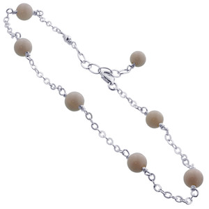 White Simulated Agate Sterling Silver Anklet Ankle Bracelets