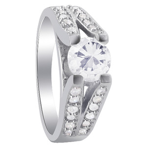 925 Sterling Silver Elevation Holding Round CZ Solitaire with accents Ring
